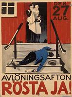 Poster zum schwedischen Referendum über das Alkoholverbot, 1922